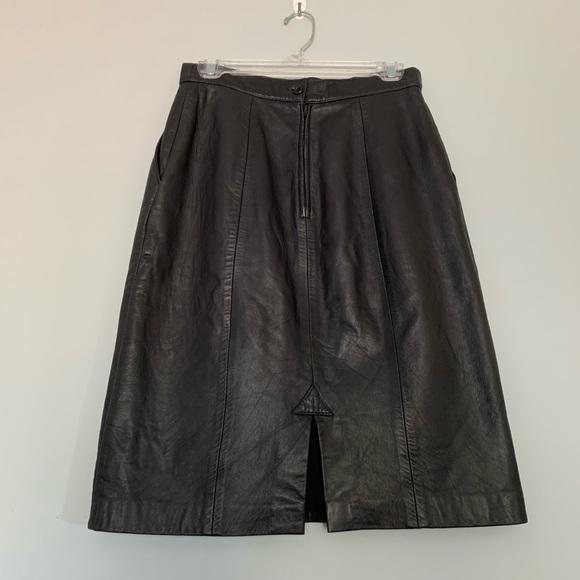Vintage Dresses & Skirts - Vintage Genuine Leather Midi Skirt Pleated Pockets